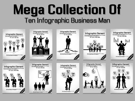 MEGA COLLECTION BUSINESS MAN MODERN INFOGRAPHIC  Illustration