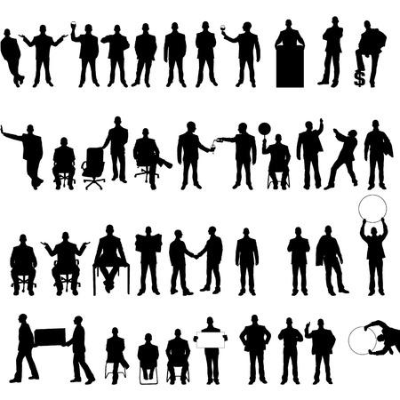 silueta hombre: COLECCIÓN MEGA DE CUARENTA Y HOMBRE DE NEGOCIOS Vectores