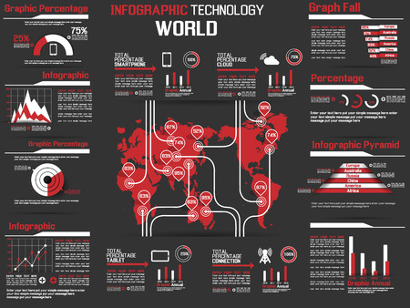 INFOGRAPHIC COLLECTION ELEMENT TECHNOLOGY WORLD RED Illustration