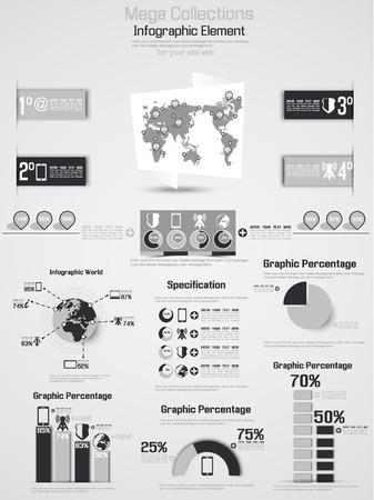 demografico: RETRO Infograf�a DEMOGR�FICA DE MUNDO ELEMENTOS 2 GRIS Vectores