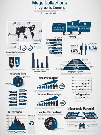 RETRO INFOGRAPHIC DEMOGRAPHIC WORLD MAP ELEMENTS BLUE