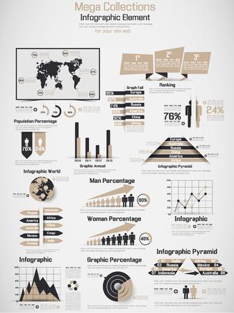 demografico: RETRO Infograf�a DEMOGR�FICA DE MUNDO ELEMENTOS DE BROWN Vectores