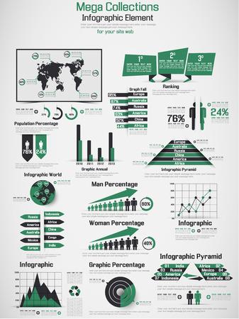 demografico: RETRO Infograf�a DEMOGR�FICA DE MUNDO ELEMENTOS VERDE