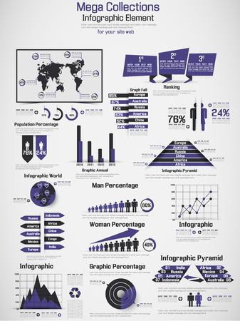 RETRO INFOGRAPHIC DEMOGRAPHIC WORLD MAP ELEMENTS PURPLE