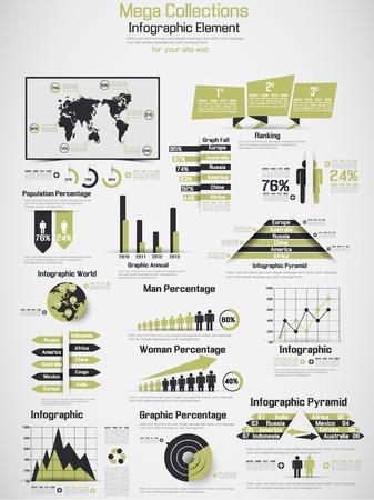demographic: RETRO INFOGRAPHIC DEMOGRAFICA DI MONDO ELEMENTI DI GIALLO Vettoriali