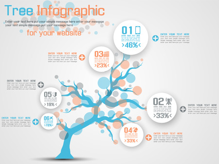 TREE INFOGRAPHIC MODERN BLUE Vector