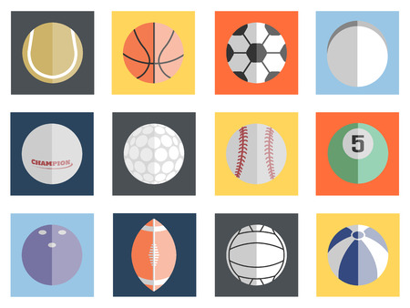 VARIOUS BALLS FLAT DESIGN Vector