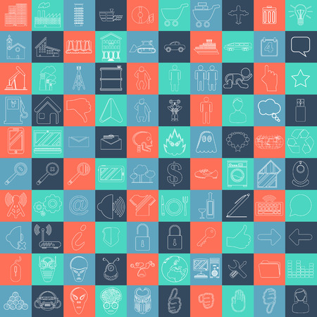 MEGA COLLECTION OF 100 DIFFERENT SIMPLE ICONS FOR YOUR WEBSITE Illustration