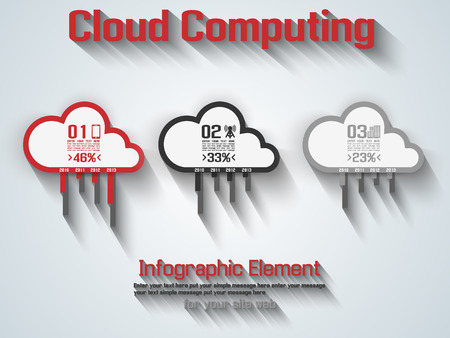 CLOUD COMPUTING FLAT STYLE RED
