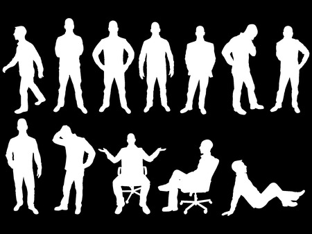 BUSINESS MAN SILHOUETTE WHITE Vector