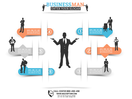 INFOGRAPHIC BUSINESSMAN OPTION WITH BLUE stikers Vector