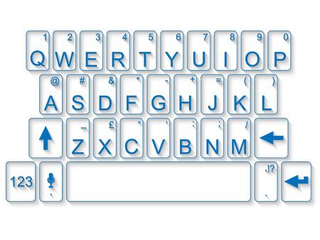 qwerty: QWERTY KEYBOARD FLAT BLUE