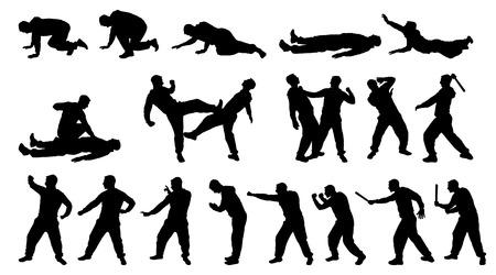 arte marcial: Silueta del hombre y de combate de artes marciales Vectores