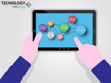 Tablet with option to infographic colorful
