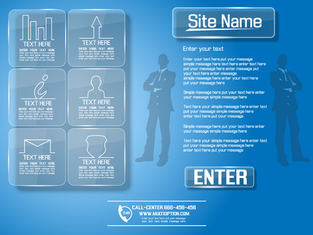 WEB PAGE INFOGRAPHIC GLASS FOR YOUR BUSINESS Illustration