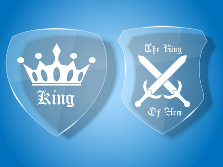 king s: GLASS SHIELD MEDIEVAL WITH BADGE Illustration