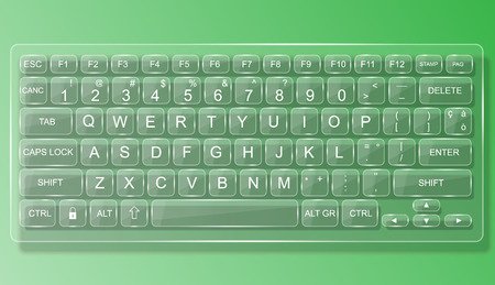 whit: KEYBOARD PC MAC GLASS WHIT GREEN SHADOW