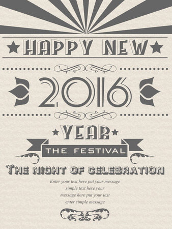 flayer: 2016 HAPPY NEW YEAR FLAYER VINTAGE RETRO POSTER