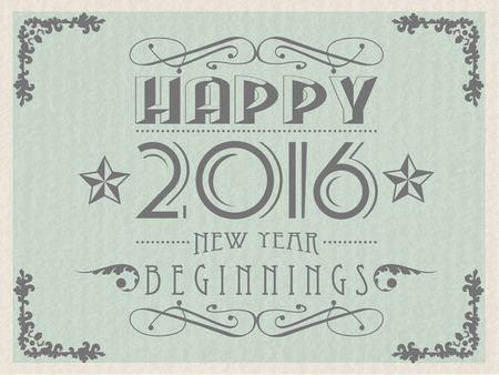 2016 HAPPY NEW YEAR VINTAGE RETRO