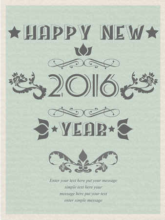 happy new years: 2016 HAPPY NEW YEARS RETRO POSTER FLAYER VINTAGE