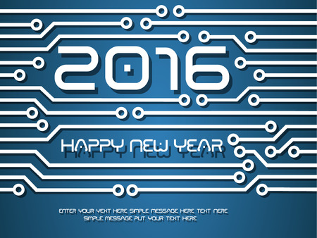 tecnology: 2016 HAPPY NEW YEAR CIRCUIT TECNOLOGY Illustration