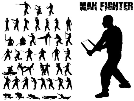 SILHOUETTE MAN AND COMBAT MARTIAL ARTS WEAPONS WHIT