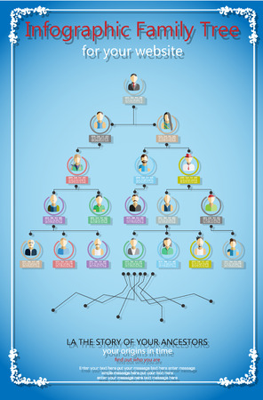INFOGRAPHIC FAMILY TREE FLAT STYLE