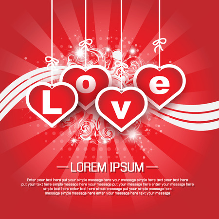 st valentin: VALENTINES BACKGROUND FOR WEB HEART AND STARS WHITH SHADOW AND FESTONS Illustration