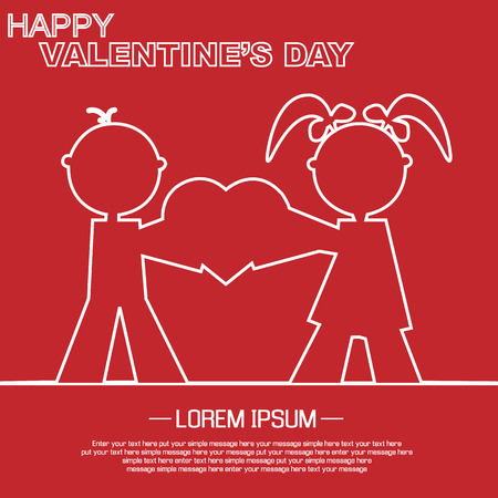 st valentin: VALENTINES DAY LOVE AND PEOPLE SILHOUETTE WHITE AND RED Illustration