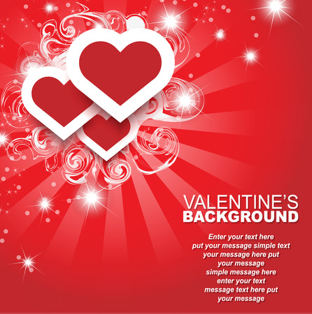 st valentin: VALENTINES DAY BACKGROUND HEART AND STASRS TEMPLATE CARD Illustration