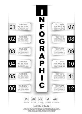 stiker: INFOGRAPHIC TIMELINE STIKER PAPER TEMPLATE TWELVE OPTIONS BLACK Illustration