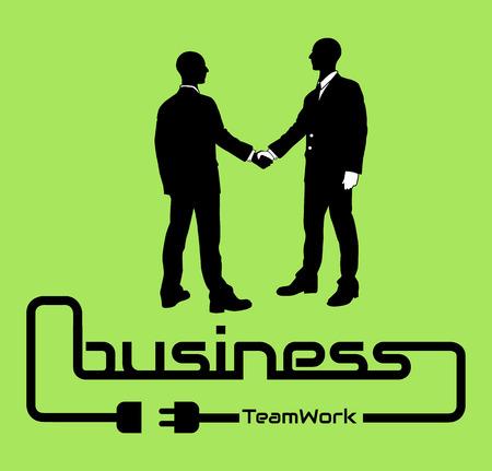 unplugged: BUSINESS TEAMWORK BACKGROUND POSTER DESIG GREEN Illustration