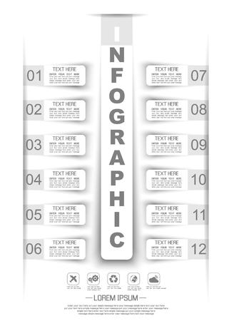stiker: INFOGRAPHIC TIMELINE STIKER PAPER TEMPLATE TWELVE OPTIONS WHITE