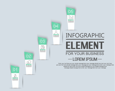 stiker: ELEMENT FOR INFOGRAPHIC  TEMPLATE  STIKER NUMBER OPTION LADDER OF SUCESS THIRD EDITION GREEN