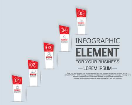 sucess: ELEMENT FOR INFOGRAPHIC TEMPLATE STIKER OPTION NUMBER OF LADDER SUCESS THIRD EDITION RED Illustration