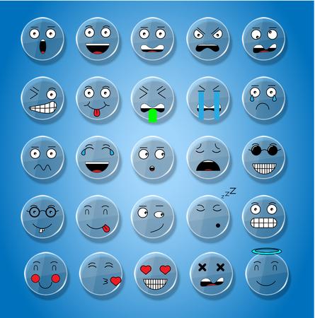 smile icon: SET OF EMOTIONS SET OF EMOJI SMILE ICONS SMILE WHITE PLATE GLASS ICON