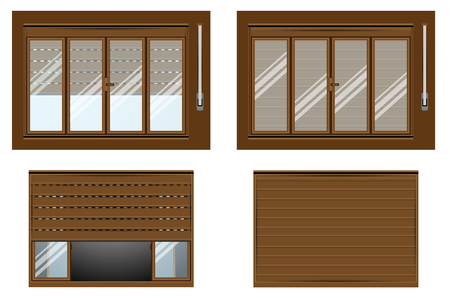 open windows: ROLLER SHUTTER OPEN CLOSE VIEW FROM INSIDE VIEW FROM OUTSIDE WITH WINDOWS PLASTIC WOOD Illustration