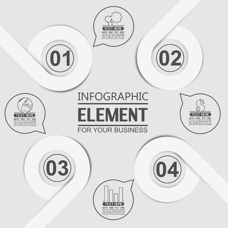 tenth: ELEMENT FOR INFOGRAPHIC  TEMPLATE GEOMETRIC FIGURE OVERLAPPING CIRCLES TENTH EDITION WHITE Illustration
