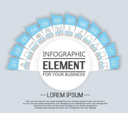 stiker: ELEMENT FOR INFOGRAPHIC  TEMPLATE GEOMETRIC FIGURE STIKER RAINBOW THIRD EDITION BLUE