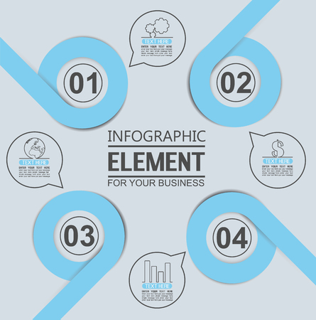 tenth: ELEMENT FOR INFOGRAPHIC  TEMPLATE GEOMETRIC FIGURE OVERLAPPING CIRCLES TENTH EDITION BLUE