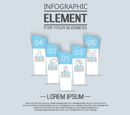 stiker: ELEMENT FOR INFOGRAPHIC  TEMPLATE GEOMETRIC FIGURE STIKER NUMBER OPTION TO SCALE THIRD EDITION BLUE Illustration