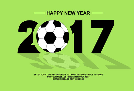 2017 HAPPY NEW YEAR FOOTBALL GREEN