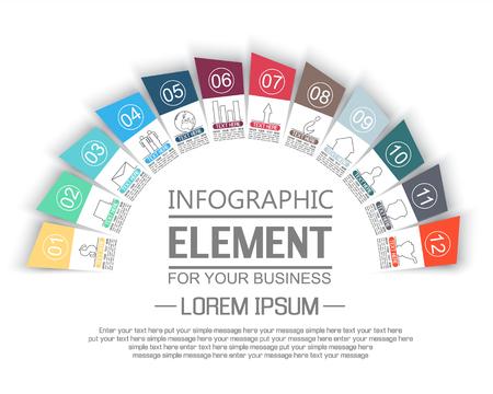 stiker: ELEMENT FOR INFOGRAPHIC  TEMPLATE GEOMETRIC FIGURE STIKER RAINBOW THIRD EDITION