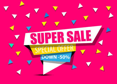 fuschia: SALE,SUPER SALE,BIG SALE,DISCOUNT,50%,SHINING BANNER,SALE BACKGROUND,SPECIAL OFFER,SHINING BANNER ON COLORFUL BACKGROUND,GEOMETRIC FIGURE,FOURTH EDITION FUSCHIA Illustration