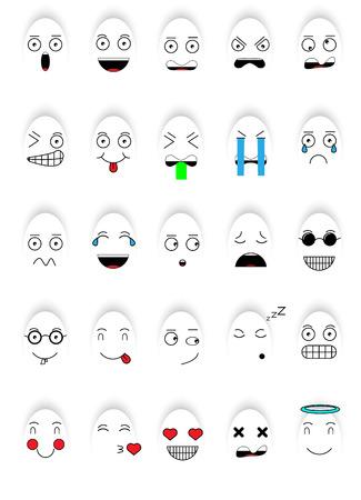 SET OF EMOTIONS SET OF EMOJI SMILE ICONS SMILE WHITE GHOST ICON