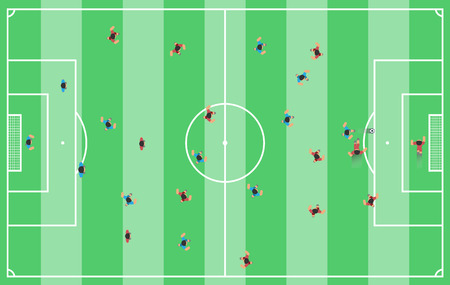 Football field with players style game pc Illustration