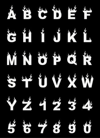 Fire alphabet, cartoon-style, simple white Illustration