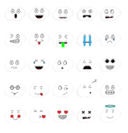 SET OF EMOTIONS SET OF EMOJI SMILE ICONS SMILE WHITE CLOUD ICON