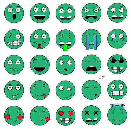 SET OF EMOTIONS SET OF EMOJI SMILE ICONS SMILE GREEN ICON Illustration