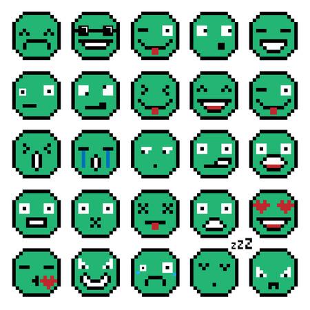 SET OF EMOTIONS SET OF EMOJI SMILE ICONS SMILE PIXEL SMILE RETRO SECOND SET GREEN